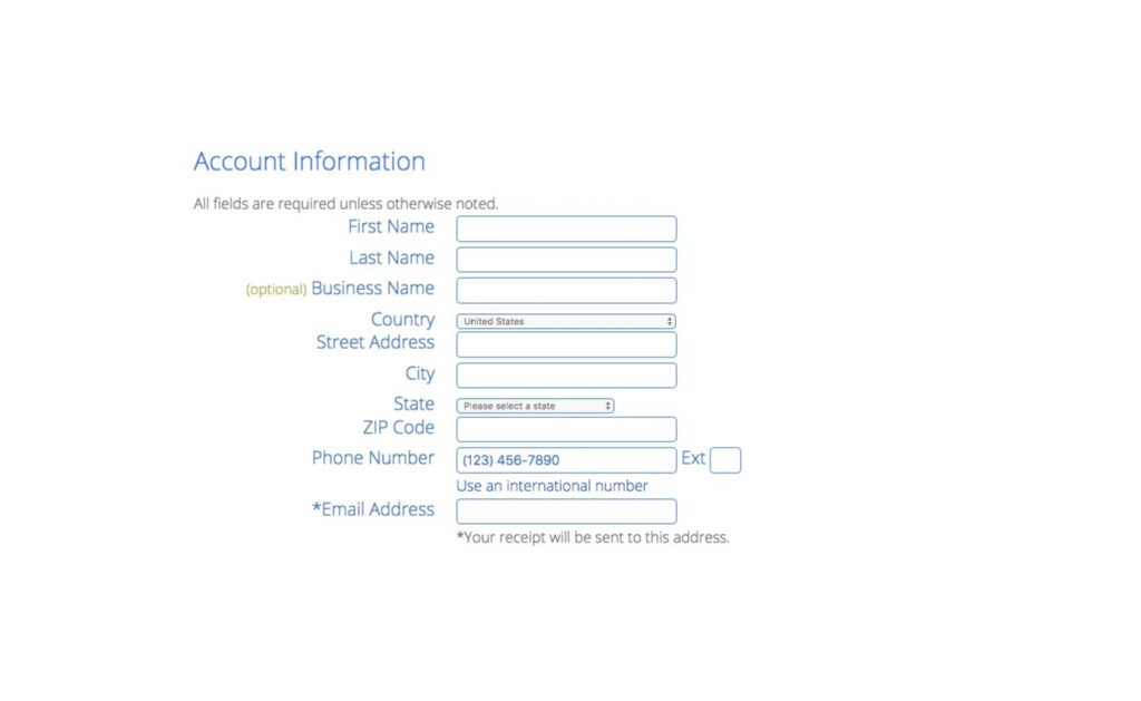 Fill out BlueHost account