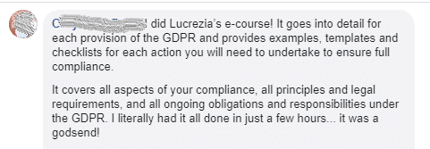 Screenshot of Testimonial on Facebook re: legal templates for bloggers GDPR 3