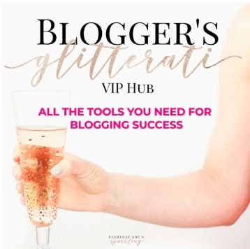 """Banner for Bloggers' Glitterati VIP hub with woman holding glass and overlay text """"all tools you need for blogging success"""""""