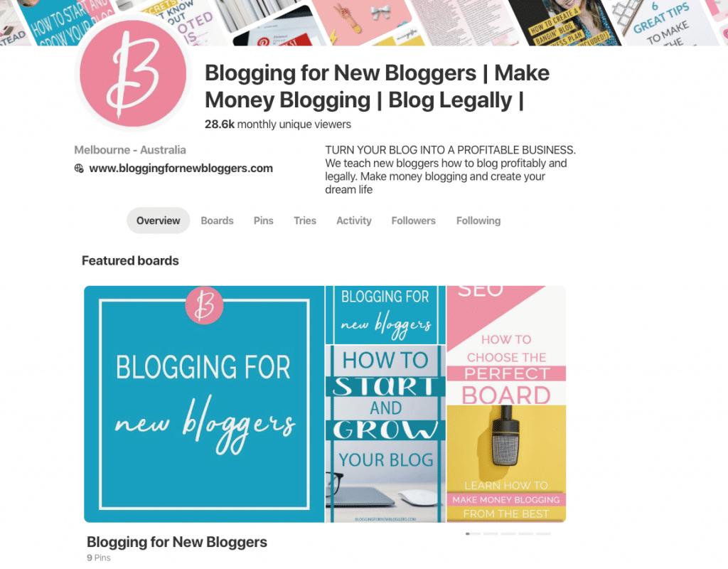 Pinterest profile featured boards