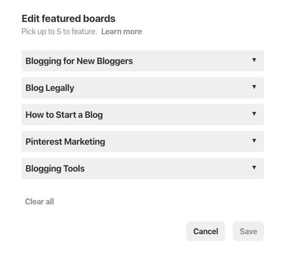 board carousel on your Pinterest profile