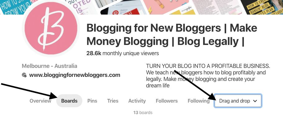 how to organize boards when creating the perfect Pinterest profile for your blog