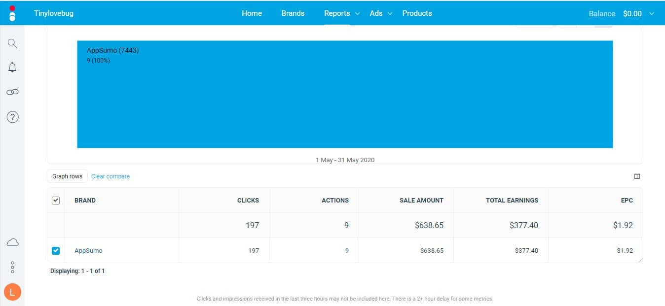 Screenshot of earning from AppSumo for income report