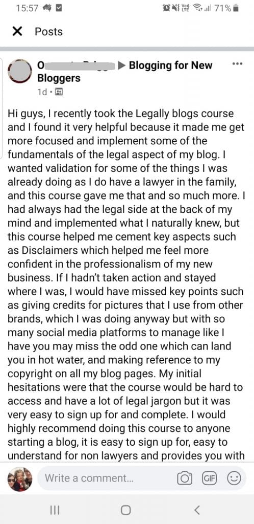 screenshot testimonial for legally blogs