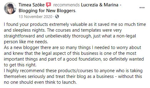 legal templates for blogs review