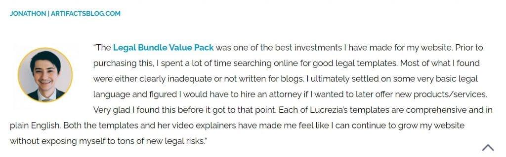 blog legal pages testimonial