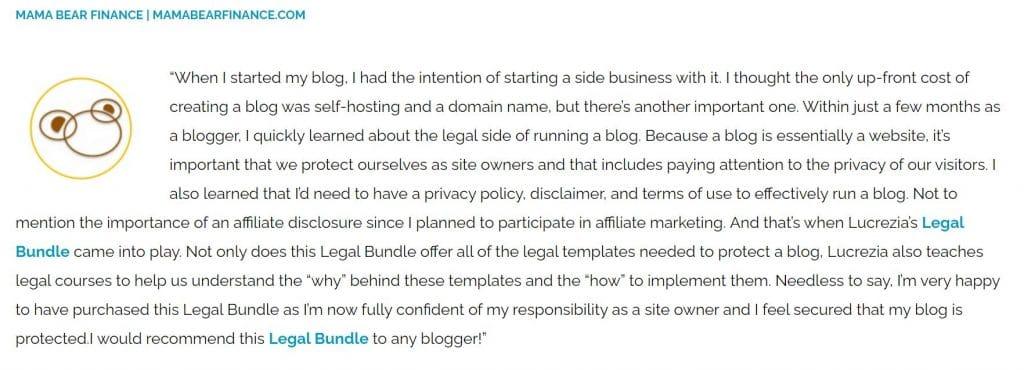 legal bundle for content creators testimonial