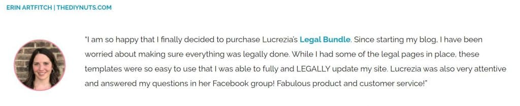 legal course for bloggers testimonial