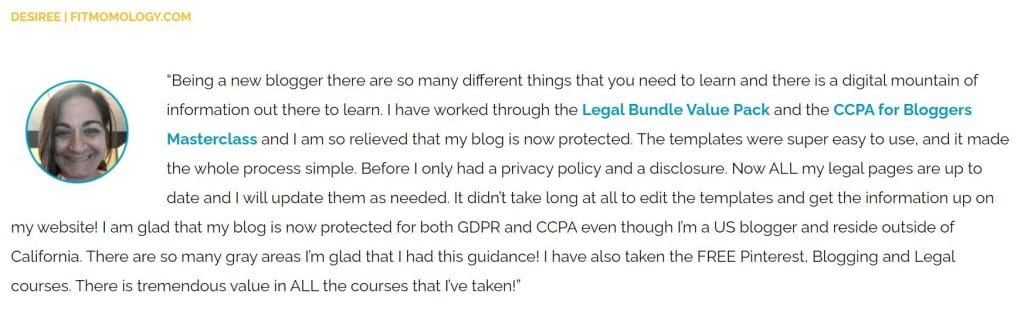 legal courses for bloggers testimonial