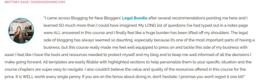 legal templates for bloggers testimonial