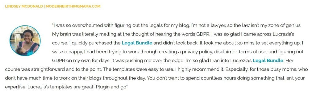 legal templates for bloggers testimonial from lindsey